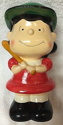 """1971 Vintage Peanuts Lucy Bank Baseball 7.5"""" Japan Plaster Type Material"""