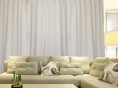 Blockout Curtains 534x230cm PINCH PLEAT 2 panel Blackout High Level Fabric Cream