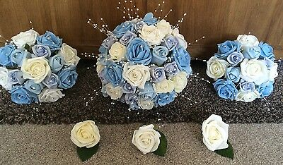Artificial Silk Wedding Flowers Bouquets Package (foam Roses) & Diamante Blue