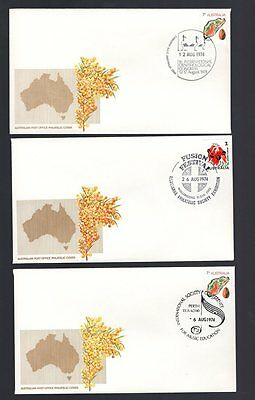 Australia 3x 7c philatelic covers with pictorial cancels see scans x2