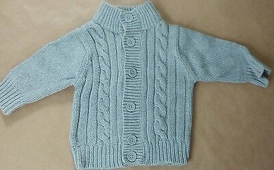 0-3 months bany boy grey knitted cardigan