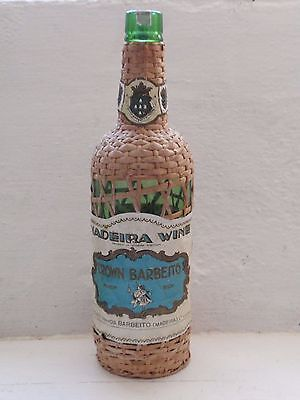 60s Vintage Madeira Straw Wicker Woven Based Wine Bottle candlestick lamp