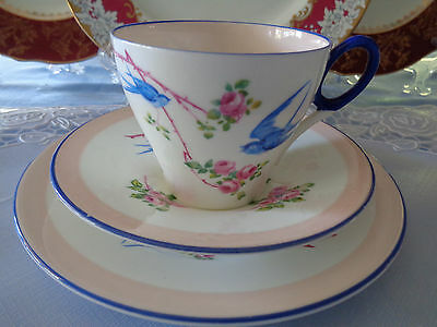 Shelley China Trio Featuring Bluebirds And  Pink Roses