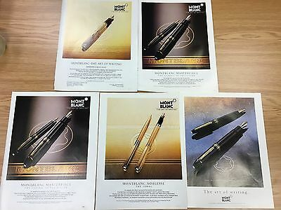 Set Of Original Vintage MONT BLANC Pen Magazine Adverts 1980s