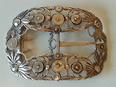 Maltese solid silver vintage Victorian antique belt buckle