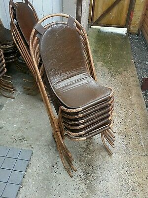 6 stak a bye 1940's vintage retro metal chairs.