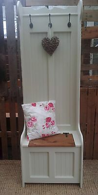 Hand Crafted Solid Pine Tall Hallway Storage Bench With Coat Hooks Monks Bench
