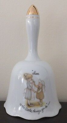 """Vintage Holly Hobbie Porcelain Bell """"love is the little things you do"""""""