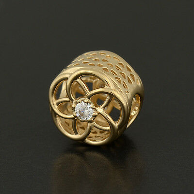 Authentic Genuine Pandora 14K Gold Loving Bloom Charm - 750598CZ