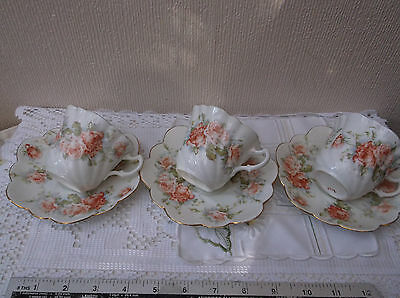 3 Vintage Antique cups and saucers - peach rose design