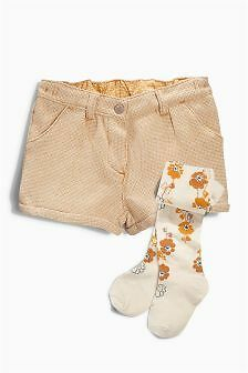 BNWT Next Girls Ochre Textured Shorts And Tights Set 3-4 Years