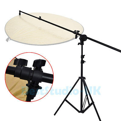 Photo Studio Collapsible Reflector Holder Boom Arm + 2m Light Stand Tripod UK
