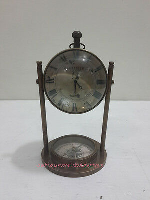 Beautiful Antique AEROPOSTALE  Table Clock With  Antique Compass
