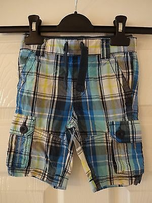 Baby boys Tesco F&F blue checked shorts age 18-24 months