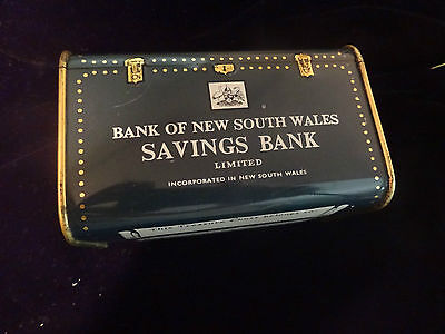 Vintage Bank of New South Wales Tin Treasure Chest Money Box