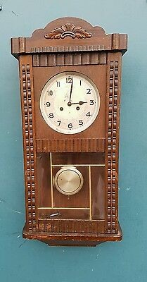 Antique German regulator wallclock. For touch up and clean up .