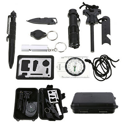 New 10 in 1 Professional Survival Kit Outdoor Travel Hike Camp Emergency Kits