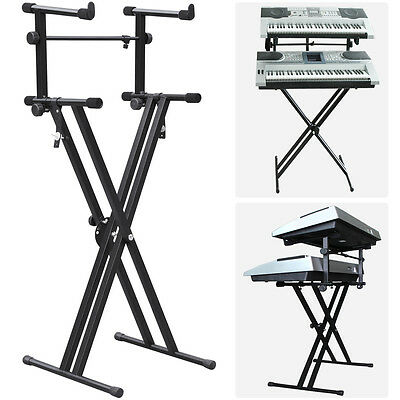 2-tier Adjustable Heavy-Duty X Style Dual Keyboard Stand Electronic Piano Double