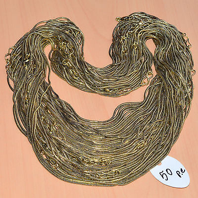 Wholesale 50Pc Sterling Solid Brass Plain Nice Long Chain Necklace  Jewelry Lot