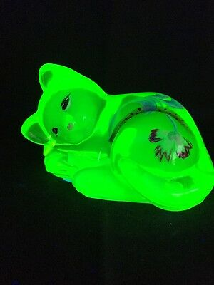 Fenton Art Glass Hand Painted Lime Green Sleeping Cat