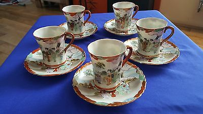 Antique / Vintage Japanese Kutani Eggshell  Handpainted Coffee Set Geisha Signed
