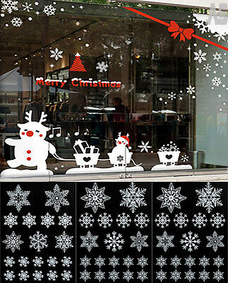 57 White Reusable Christmas Snowflakes Window Stickers Self Clings Decoration Uk