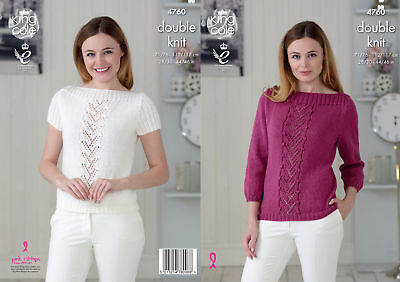 King Cole Ladies Double Knitting Pattern Lace Detail Boat Neck Jumper & Top 4760