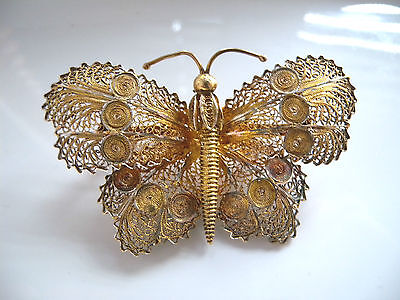 Good Large Solid Silver Gilt Filigree Butterfly Brooch