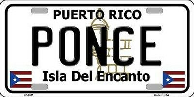 PONCE Puerto Rico State Background Novelty Metal License Plate