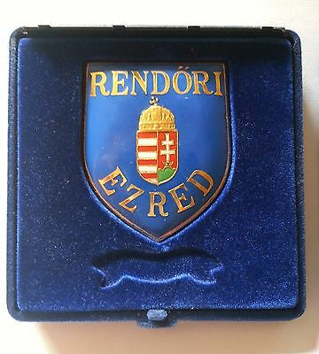 Vintage  Hungarian national police coat metal plaque with box...