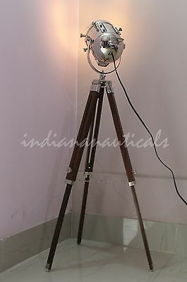 Retro Marine Floor Lamp Nautical Spotlight With Tripod Maritime Home Decor Item