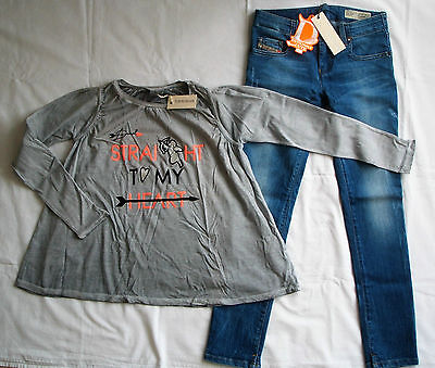 Bnwt Diesel Girls  Jeans & Long Sleeved T Shirt  Small 8 Years Rrp Eur159