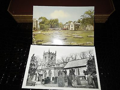 2 Postcards.  Whalley Abbey and Eyam Church.  Vintage