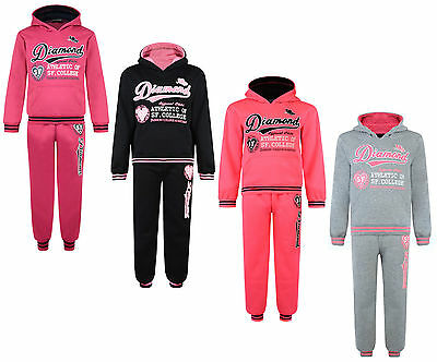 Kids Tracksuit Girls Jog Set Diamond 2Pc Hooded Top & Joggers Bnwt