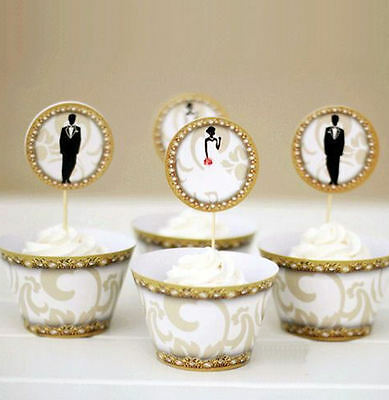 Wedding Cupcake Wrappers and Cake Toppers - Bride and Groom