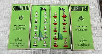 2 X Vintage Boxed Subbuteo 00 Scale Football/soccer Team Blue/white Red/white