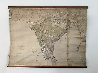 1768 India By Thomas Jeffreys Huge Hanging Wall Map With Wooden Rollers