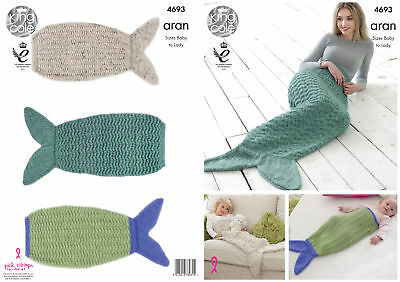 Mermaid Tail Blankets Knitting Pattern Baby to Adult Sizes King Cole Aran 4693