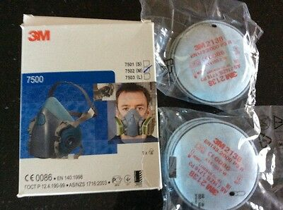3M 7500  Large Half Mask Plus  4 X  2138 Filters New