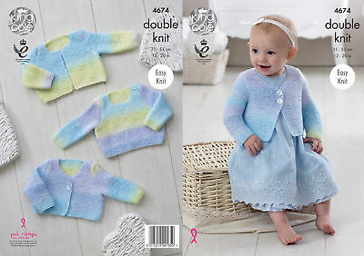 King Cole Baby DK Double Knitting Pattern Easy Knit Sweater & Cardigans 4674