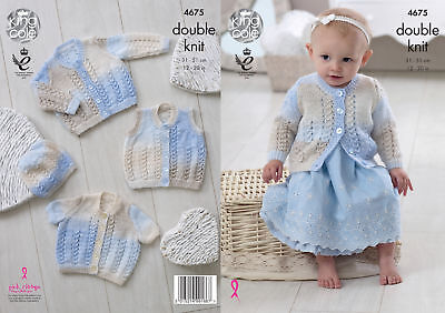 King Cole Baby DK Double Knitting Pattern Lacy Cardigans Waistcoat & Hat 4675