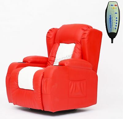 FoxHunter Leather Massage Recliner Sofa Chair Swivel Rocking MLS-02 Red White