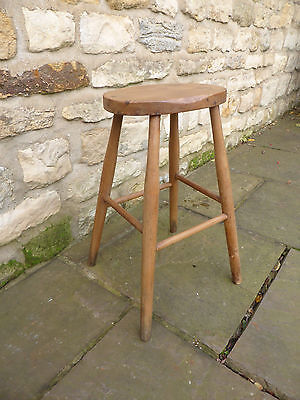 Vintage oval topped stool   Beech + Ash