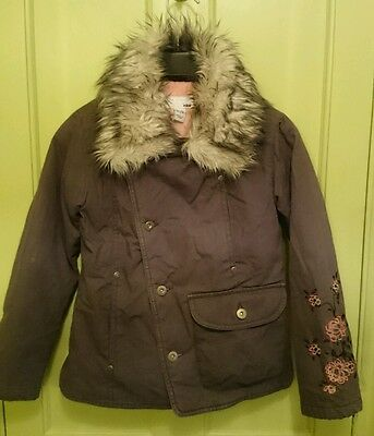 Coat girls 8-9 years H&M brown with a fur hood