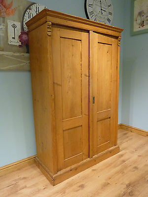 Antique Pine Vintage Wardrobe Linen Cupboard Armoire - Great Shabby Chic Project