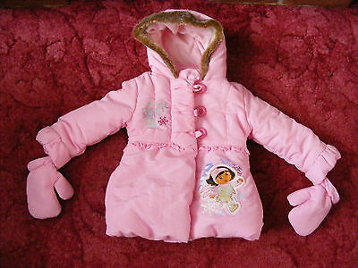 New Pink Dora Girls Kids Winter Coat Hooded Warm Jacket with Gloves 2-3 Years
