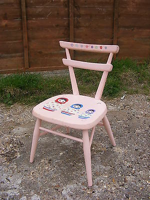 Pink Hand Painted Mid Century Retro Old Vintage Ercol Stacking School Kids Chair