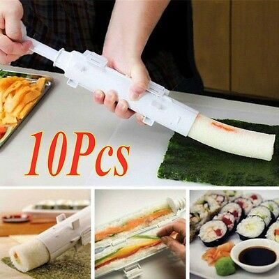 10Pcs Perfect Sushi Roll Maker Kit Rice Roller Mold Mould Chef Kitchen DIY Set