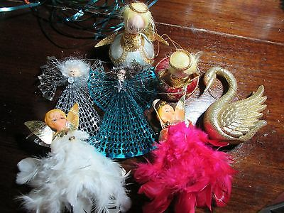 Vintage Christmas Ornaments Old Decorations Feather Fairies Angels Swan  Balls