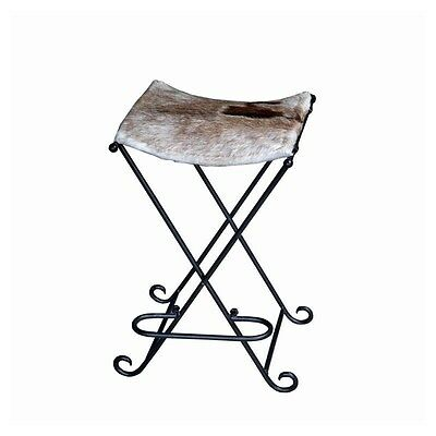 Silkroute STO78480HBS  Sara Hair on Leather Iron Bar Stool